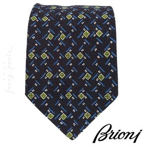 Brioni Men's Silk Neck Tie Blue Green